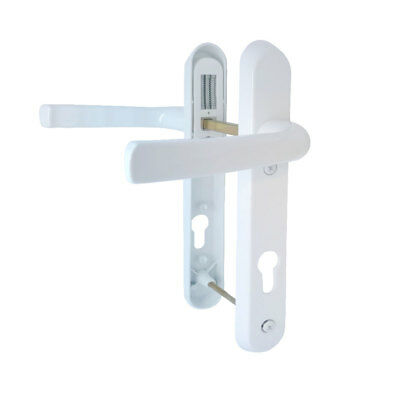 White uPVC Door Handles - 92mm PZ, 122mm Screws D80