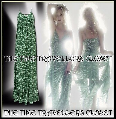 Kate Moss Topshop Green White Leaf Graduated Tiered Maxi Dress 60s Boho UK 6 8