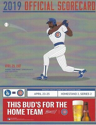 CHICAGO CUBS  2019 Scorecard VS. Los Angeles Dodgers - Baez,Seager,Rizzo,Kershaw
