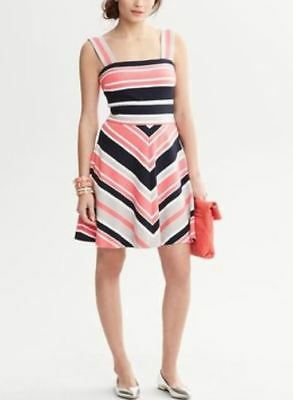 Banana Republic Milly Collection $140 Chevron Stripe Fit and Flare Dress Size 6