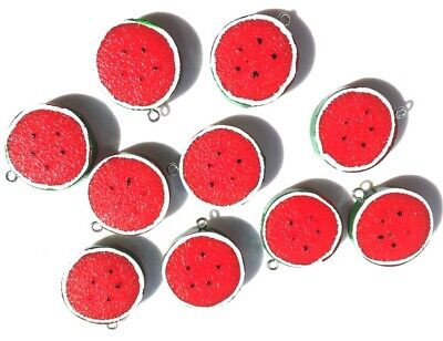 10 Large Melon Slices Segment Pieces Charms Pendants - Fast Free Shipping