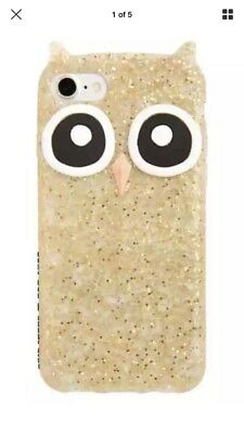 Kate Spade Gold Glitter Owl Silicone iPhone Case For iPhone 7 NEW