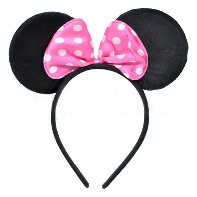 Mouse Ears & Pink Bow Headband - Fancy Dress Costume Mickey Minnie Outfit Party