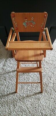 """Vintage Original Wooden Doll High Chair With Tray  27"""" Adorable"""