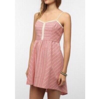 fa3dc012 COPE Urban Outfitters Striped Pink/Red Sleeveless Mini Sundress, Size Large