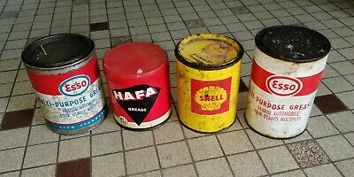 4 boite de graisse ESSO shell hafa - Öl dose oil can tin