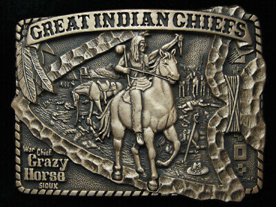 Pg15168 *Nos* Vintage 1983 *Great Indian Chiefs Crazy Horse* Solid Brass Buckle