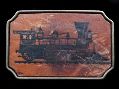 RI07128 VINTAGE 1970s **STEAM ENGINE TRAIN** LEATHER SOLID BRASS BTS BELT BUCKLE