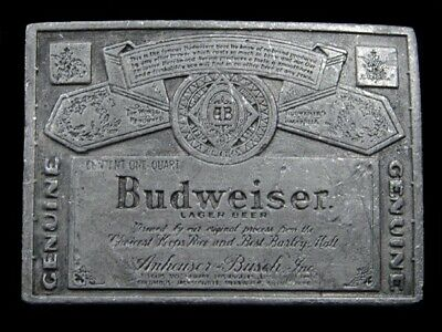 RL13145 VINTAGE 1970s **GENUINE BUDWEISER LAGER BEER** ADVERTISEMENT BELT BUCKLE
