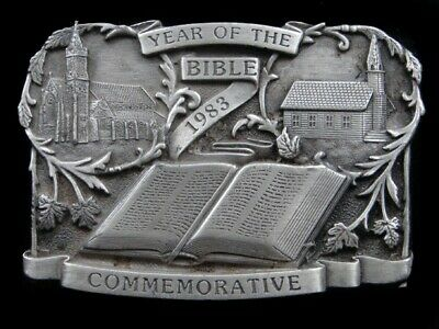 Rl13166 Vintage 1983 **Year Of The Bible** Religious Commemorative Belt Buckle