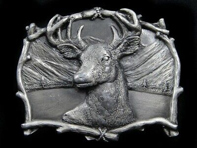 Rl13141 Vintage 1995 **Big Buck Deer** Commemorative Pewter Belt Buckle