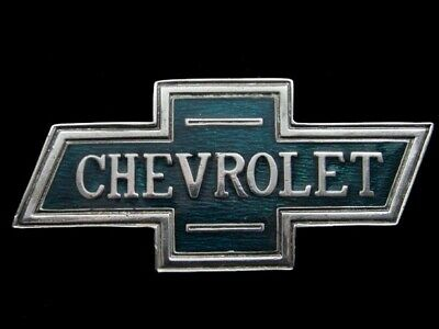 RJ03113 VINTAGE 1970s *CHEVROLET* BOWTIE LOGO ADVERTISEMENT INSTYLE BELT BUCKLE