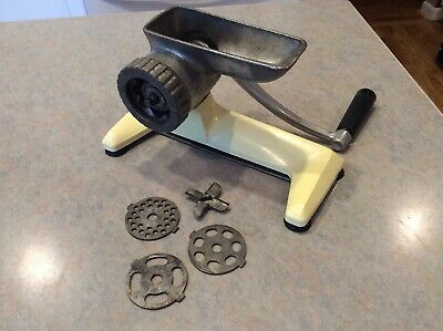 Vintage Antique Universal Countertop Tabletop Meat Grinder with Blades. Clean!