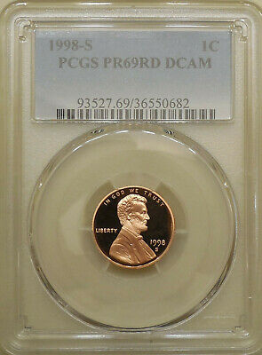 1998-S PCGS PR69DCAM proof Lincoln cent deep cameo red