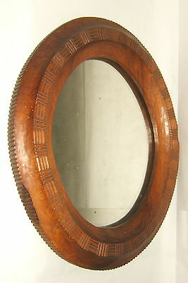 Mirror Ice Oval Wall Walnut Solid Carved Hand