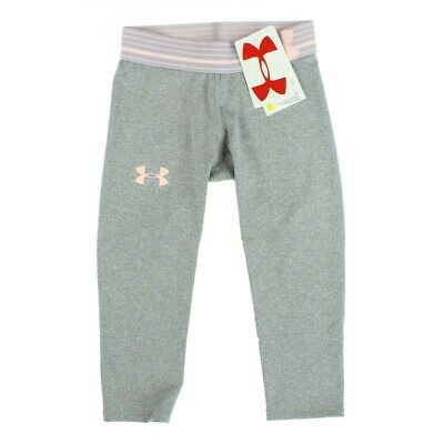 Under Armour Youth Girls True Heather Gray Peach Frost Capri Size Extra Small