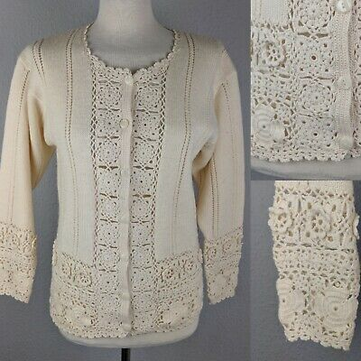 Vintage Next Ivory Cream Crochet Knit Button Down Cardigan Small 10-12 Boho