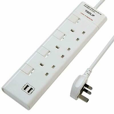 TISDLIP Extension Lead White Surge Protected 2 Gang 6.56 Feet Cable with Switch