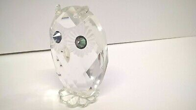 Lovely Crystal / Cut Glass - Owl Figurine / Ornament - with Coloured Eyes