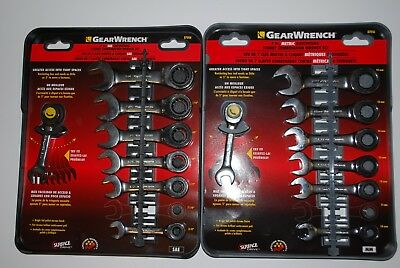 GearWrench 14-PC Inch/Metric Ratcheting Stubby Combination Wrench Set