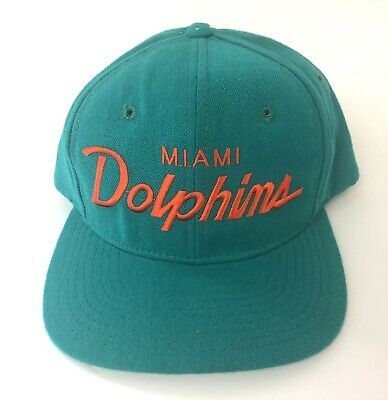 6095147d06f9e Vintage Miami Dolphins Snapback Hat Wool Cap Script Spell Out Sports  Specialties