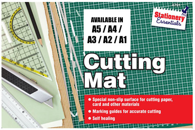 3mm Thick Craft Cutting Mat 1cm Measuring Grid Non Slip Surface A5 - A1