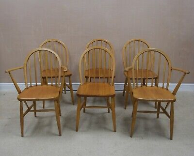 Set Of 6 Vintage Ercol Dining / All Purpose Chairs - Includes 2 Carvers