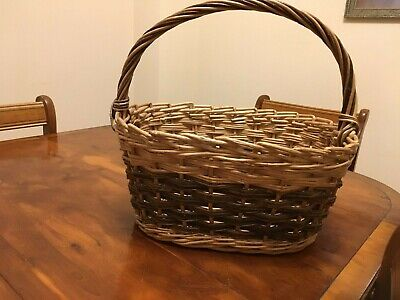 Country oblong strong large woven picnic basket food hamper 2 colour cane gc
