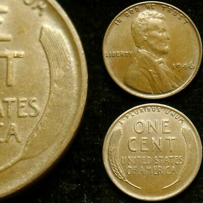 1946-P Struck Through Grease Error Lincoln Cent Wheat Penny