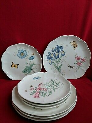 Dinner & Salad Plates Assorted Lenox Butterfly Meadow, Set of 4 each. New.