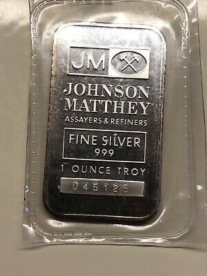 Toning Johnson Matthey 1 oz 999 silver bar Serial # 045125 Sealed from the Mint