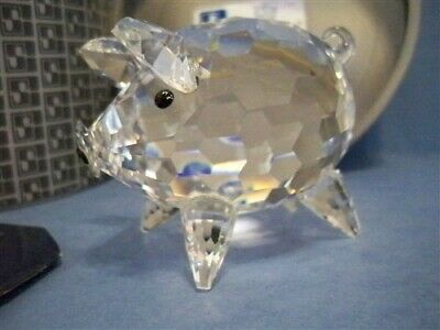Swarovski Large Pig Rare Var 1 With Molded Crystal Tail Retired 011846 Mib Coa
