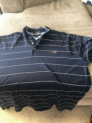 80445caa8 TOMMY HILFIGER GOLF Mens 100% COTTON SMOOTHKNIT POLO SHIRT Navy/white Sz 2XL