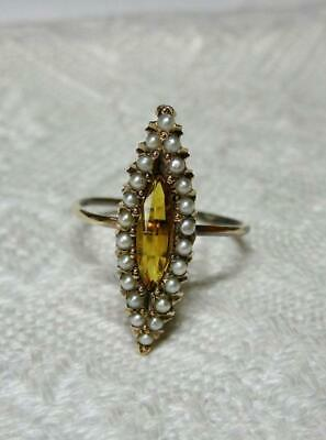 Citrine Pearl Ring Marquise Navette Gold Victorian Belle Epoque Antique c1900