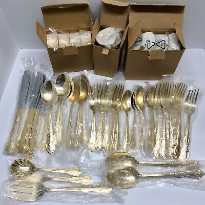 International Silver Company  ANTIQUE ROSE  24K Goldplated 70-Piece Flatware NEW