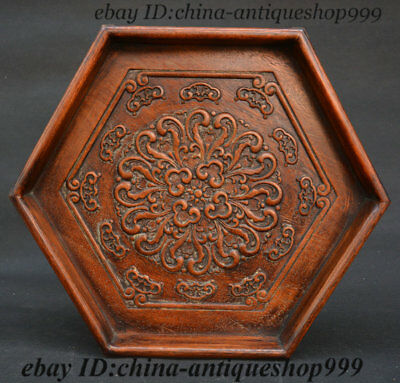 Old China Huanghuali Wood Carved Higanbana Six Angles Tea Tray Pallet Tea-Things