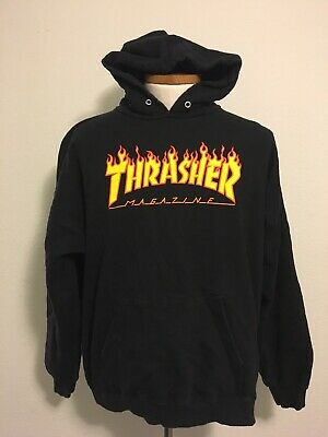 41a3d0560a1d AUTHENTIC  THRASHER MAGAZINE FLAMES Pullover XL Sweatshirt Hoodie Skate  Surf USA