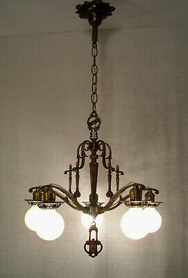 1920's Moe Bridges Ornate Bronze Tudor Chandelier RESTORED Antique Ceiling Light