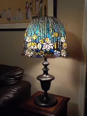 """Superb Finest TIFFANY Style 36"""" Flowering Lotus Lilly Table Lamp 1640 pcs Glass"""