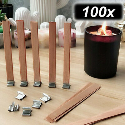 100pcs Wood Wooden Candles Core Wick Candle Making Supplies w Iron Stands 8-15mm
