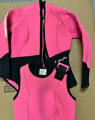 Action Plus Women/'s 3mm Farmer Jane Two Piece Wetsuit Sz Large MADE IN USA PL