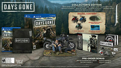 Days Gone COLLECTOR'S Edition with Statue SteelBook Pins PS4 NEW Pre Order DLC