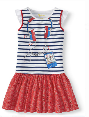 Minnie Mouse Girls Dress Headphone Sequins Red White Blue 10-12 14-16 Disney NWT
