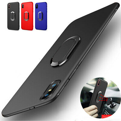 For iPhone XS Max XR 8 7 Slim Matte Case Magnetic Ring Holder Rubber Stand Cover