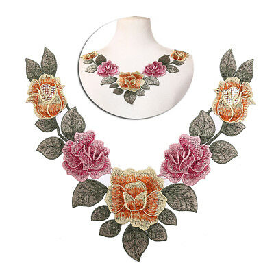 diy embroidered floral lace neckline neck collar trim clothes sewing applique RF