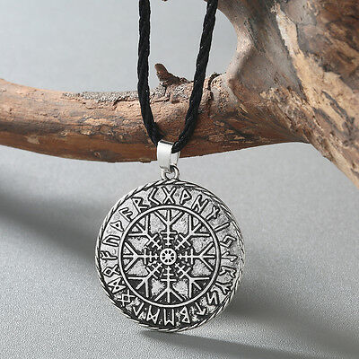 Viking Compass Stainless Steel Necklace Punk Runic Norse Pendant Men Necklace