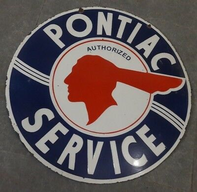 Advertising Signs Pontiac Factory Engineered Porcelain Enamel Sign 24 Inches Single Sided Round