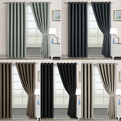 2X Blockout Eyelet Curtains Thermal Blackout 3 Layers Pure Fabric Room Darkening