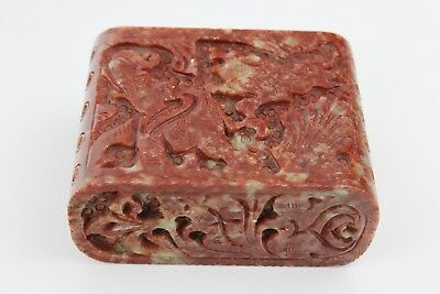 Antique Chinese Hand Carved Jade Stone Lidded Box ( Elephant & Lion ) 10x8x5cm