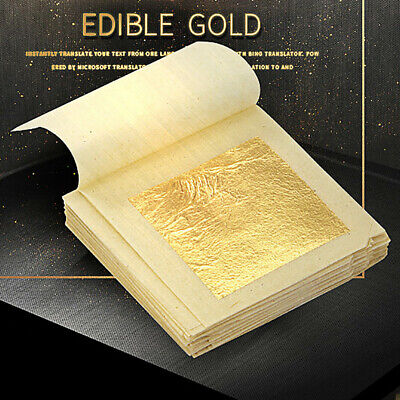 10 Sheets Pure 24K Gold Foil Leaf For Edible Anti-Aging Facial Spa Craft Gilding
